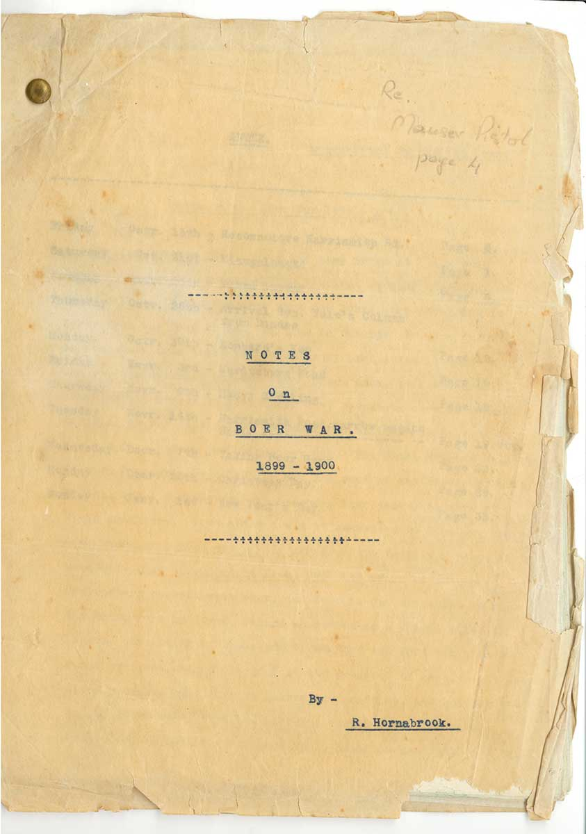 Cover of hand typed document